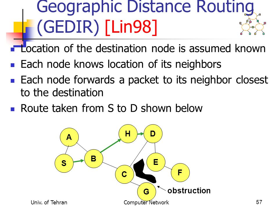 Geographic Distance Routing (GEDIR) [Lin98]